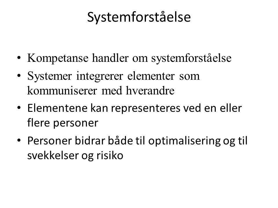 Systemforståelse Kompetanse handler om systemforståelse
