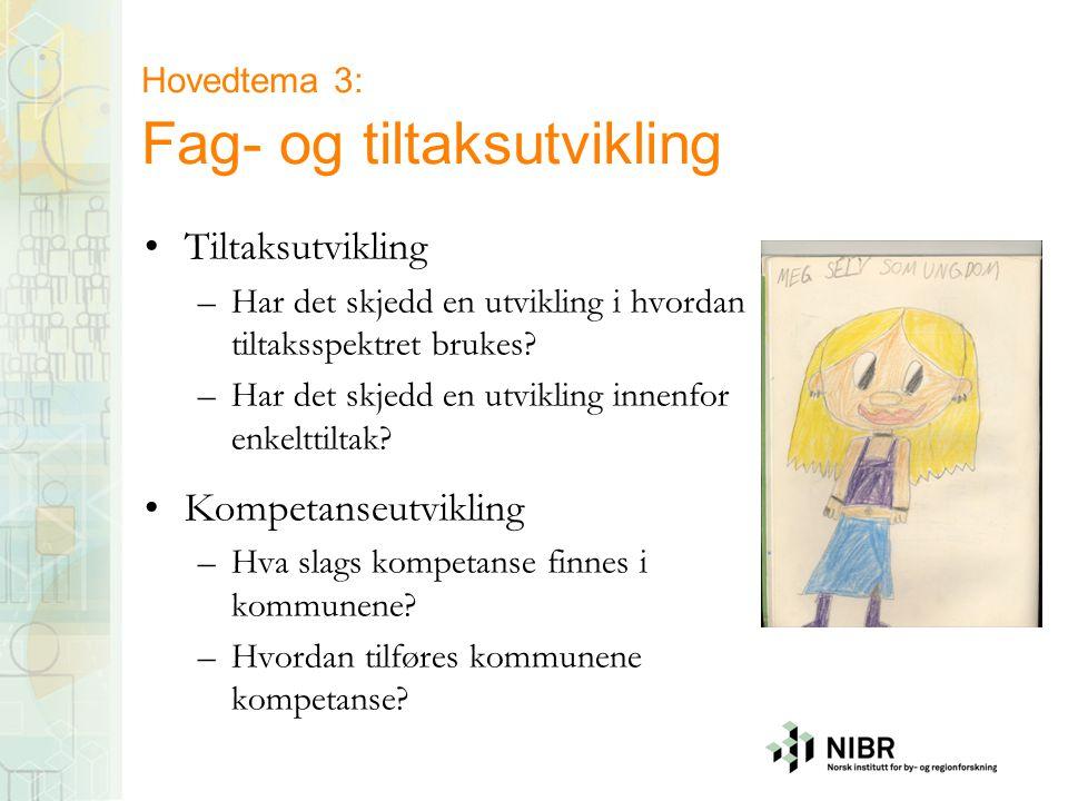 Hovedtema 3: Fag- og tiltaksutvikling