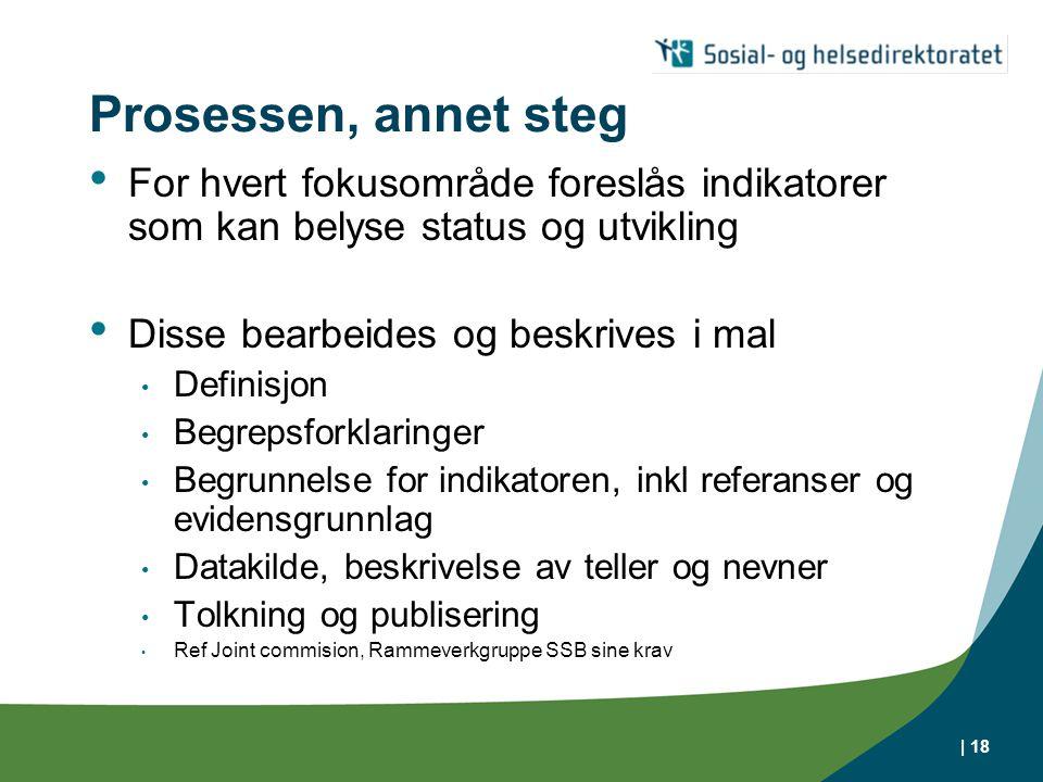 Prosessen, annet steg For hvert fokusområde foreslås indikatorer som kan belyse status og utvikling.