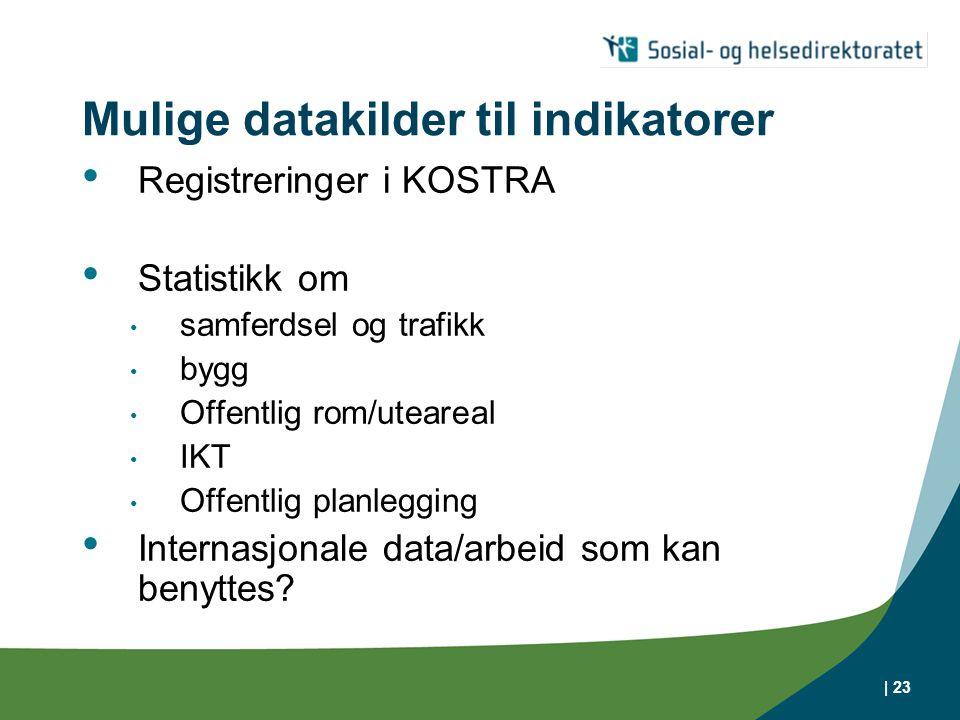 Mulige datakilder til indikatorer