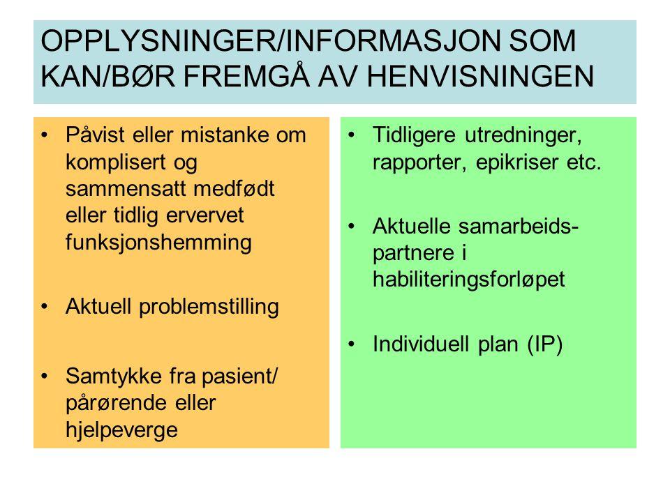 OPPLYSNINGER/INFORMASJON SOM KAN/BØR FREMGÅ AV HENVISNINGEN