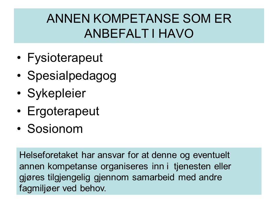 ANNEN KOMPETANSE SOM ER ANBEFALT I HAVO