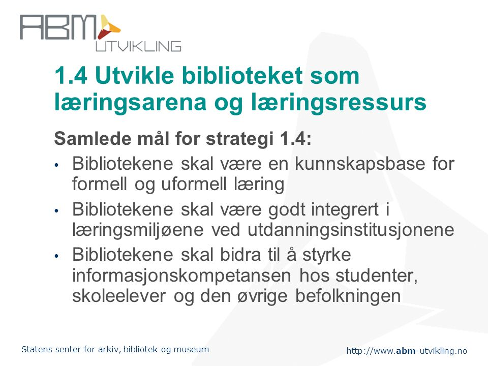 1.4 Utvikle biblioteket som læringsarena og læringsressurs