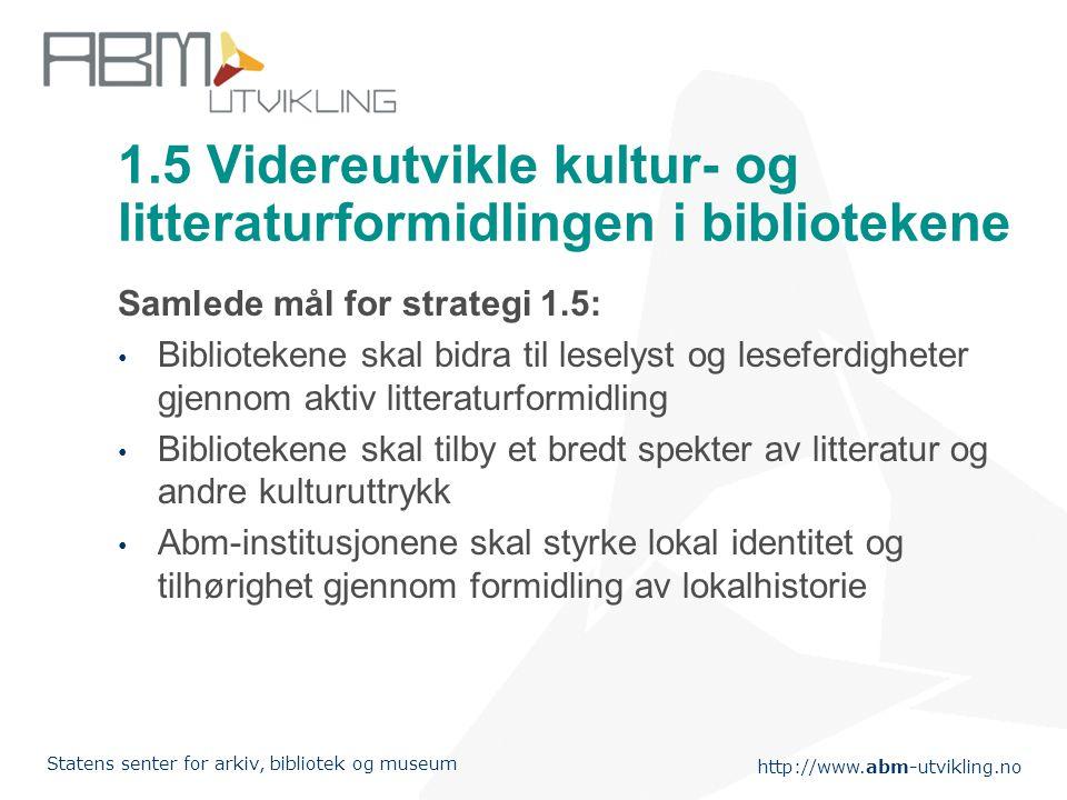 1.5 Videreutvikle kultur- og litteraturformidlingen i bibliotekene