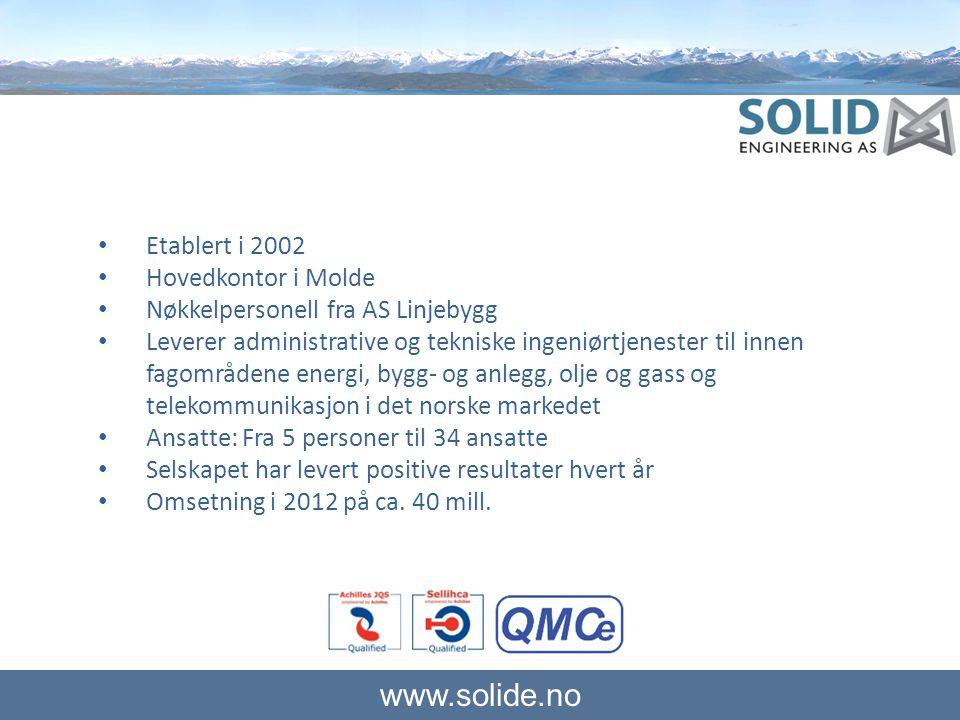 Etablert i 2002 Hovedkontor i Molde. Nøkkelpersonell fra AS Linjebygg.
