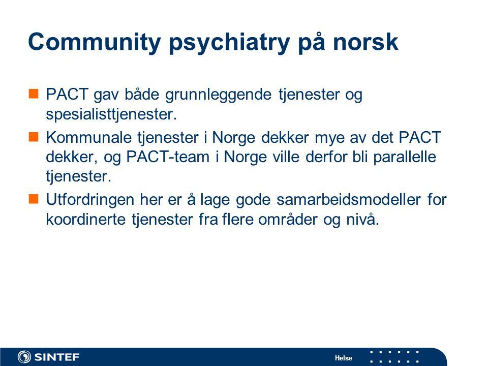 Community psychiatry på norsk