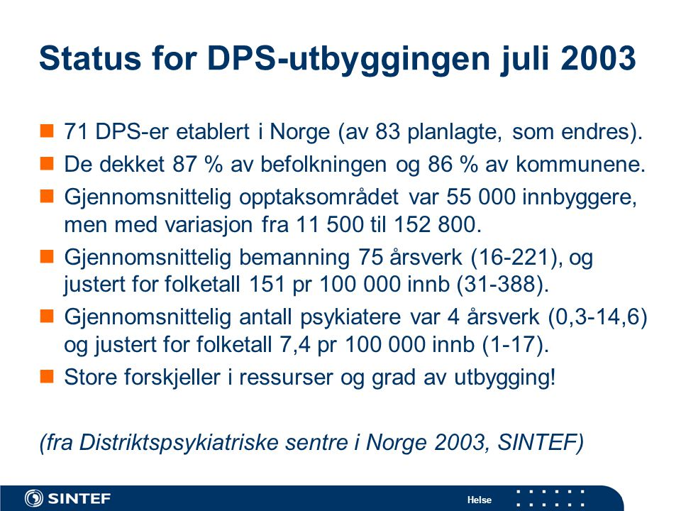 Status for DPS-utbyggingen juli 2003