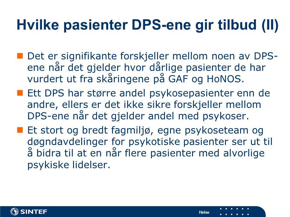 Hvilke pasienter DPS-ene gir tilbud (II)