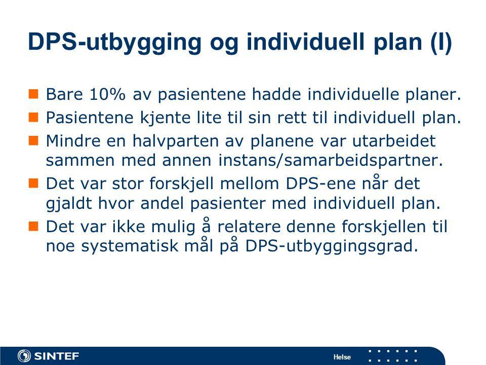 DPS-utbygging og individuell plan (I)