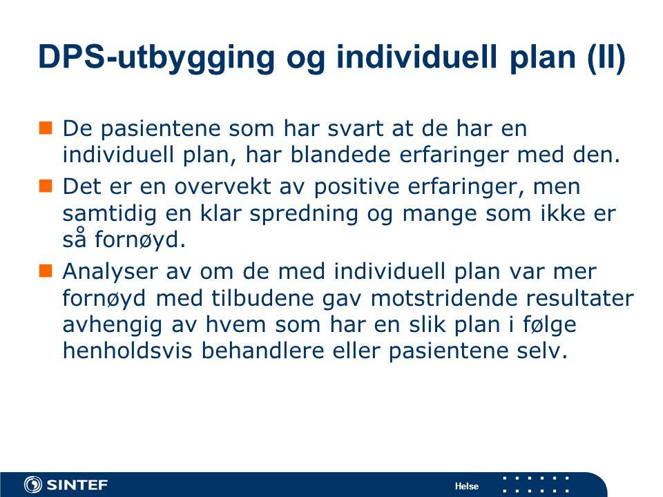 DPS-utbygging og individuell plan (II)