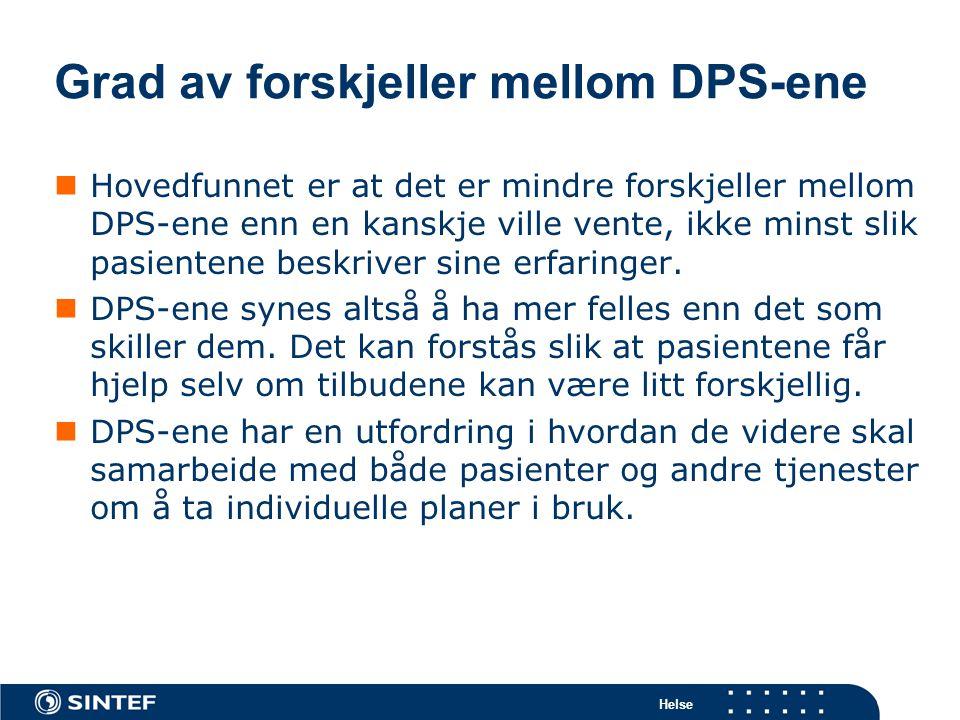 Grad av forskjeller mellom DPS-ene