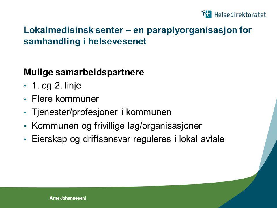 Mulige samarbeidspartnere 1. og 2. linje Flere kommuner