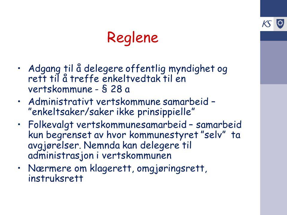 Reglene Adgang til å delegere offentlig myndighet og rett til å treffe enkeltvedtak til en vertskommune - § 28 a.