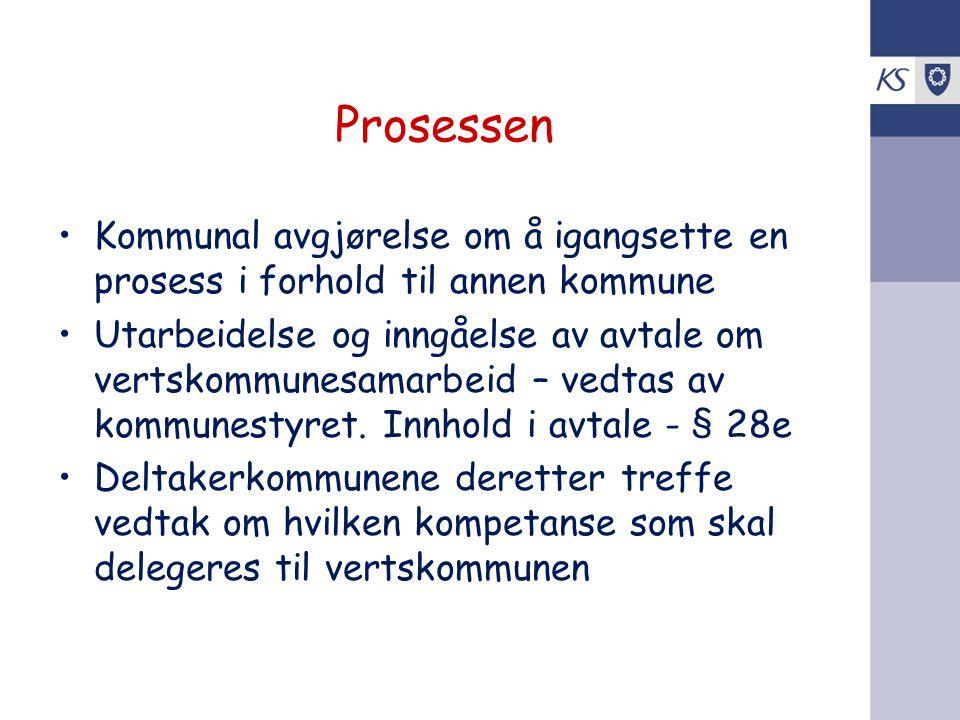 Prosessen Kommunal avgjørelse om å igangsette en prosess i forhold til annen kommune.