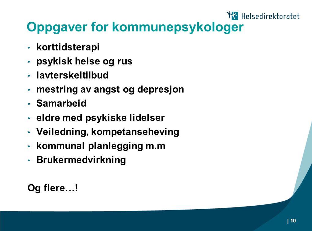 Oppgaver for kommunepsykologer