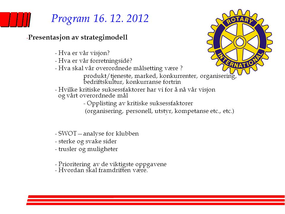 Program 16. 12. 2012 Presentasjon av strategimodell