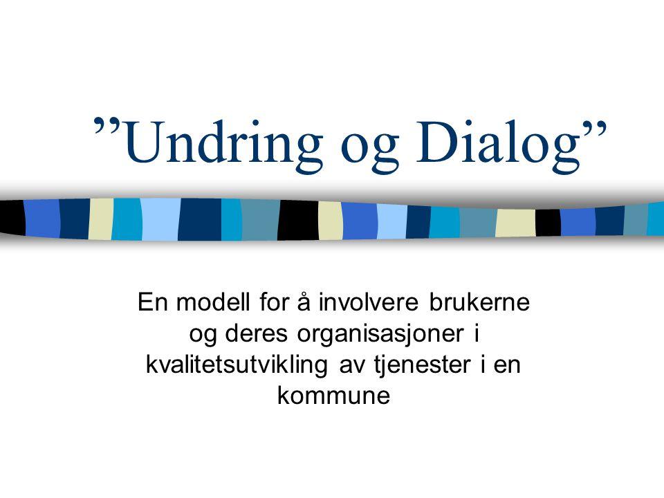 Undring og Dialog En modell for å involvere brukerne og deres organisasjoner i kvalitetsutvikling av tjenester i en kommune.