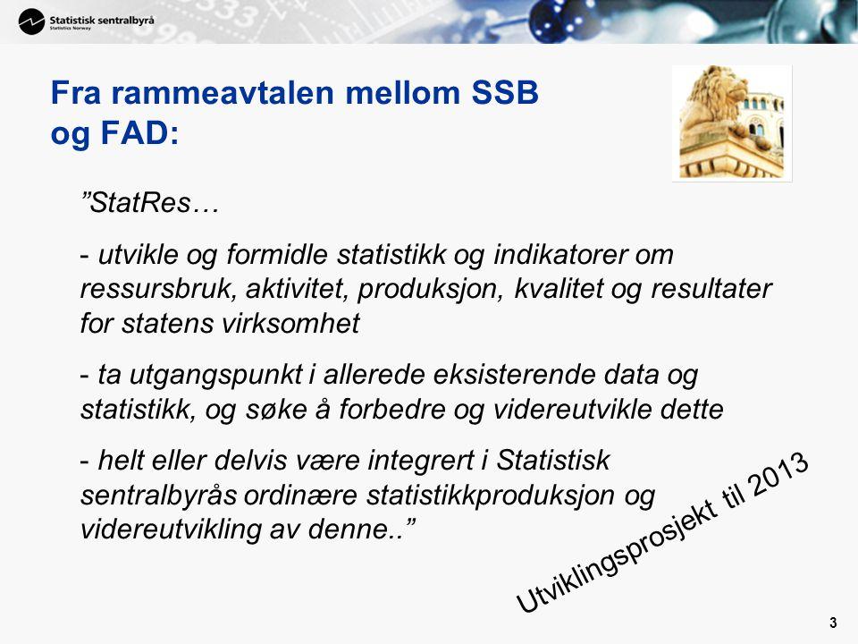 Fra rammeavtalen mellom SSB og FAD: