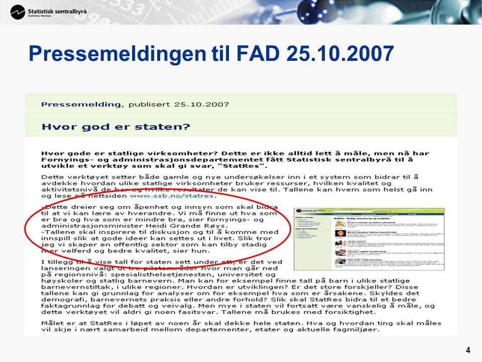 Pressemeldingen til FAD 25.10.2007
