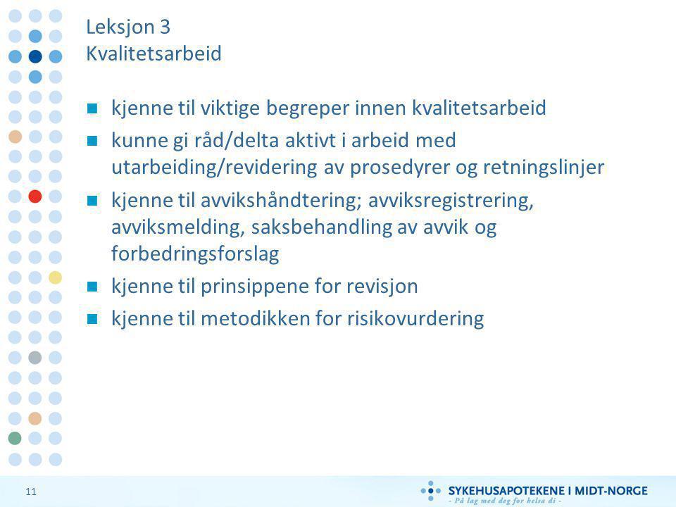 Leksjon 3 Kvalitetsarbeid
