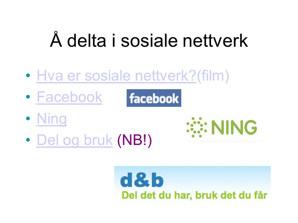 Å delta i sosiale nettverk