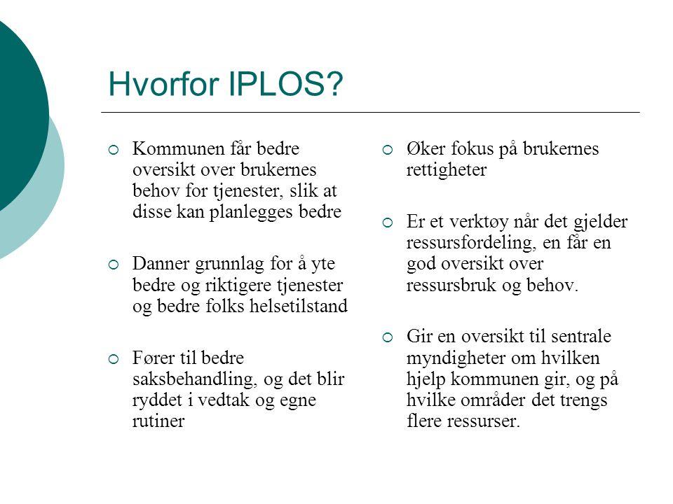 Hvorfor IPLOS Kommunen får bedre oversikt over brukernes behov for tjenester, slik at disse kan planlegges bedre.
