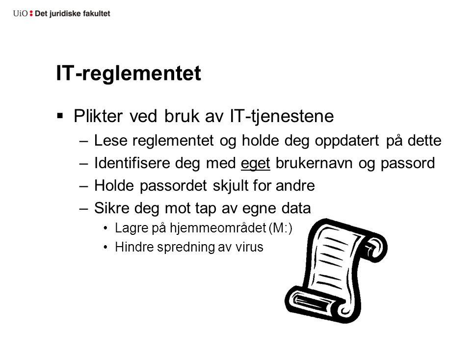 IT-reglementet Plikter ved bruk av IT-tjenestene