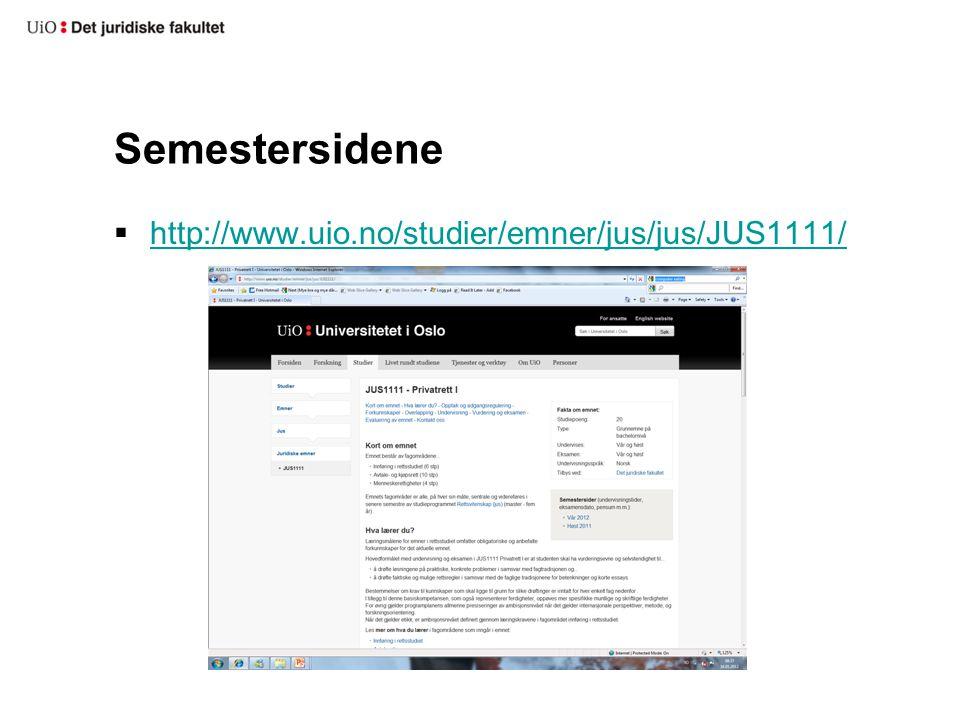 Semestersidene http://www.uio.no/studier/emner/jus/jus/JUS1111/