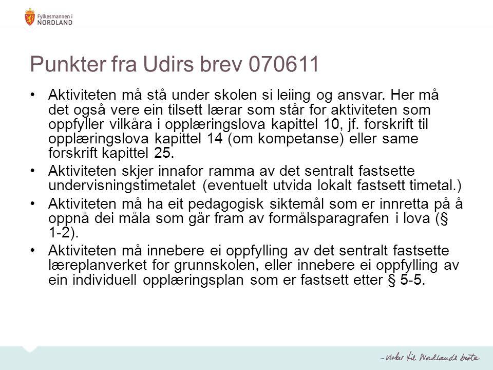 Punkter fra Udirs brev 070611