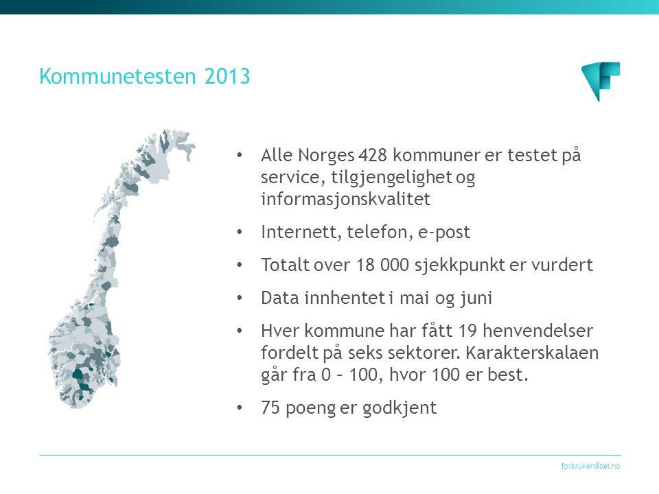Kommunetesten 2013 Alle Norges 428 kommuner er testet på service, tilgjengelighet og informasjonskvalitet.
