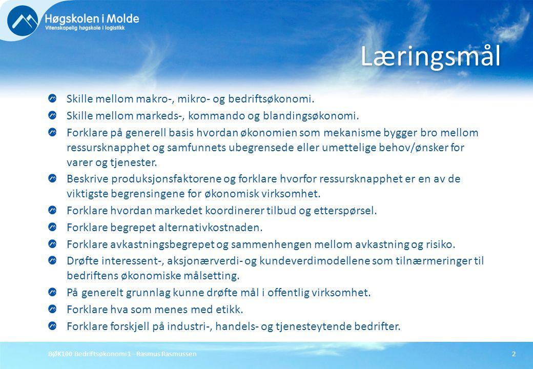 Læringsmål Skille mellom makro-, mikro- og bedriftsøkonomi.