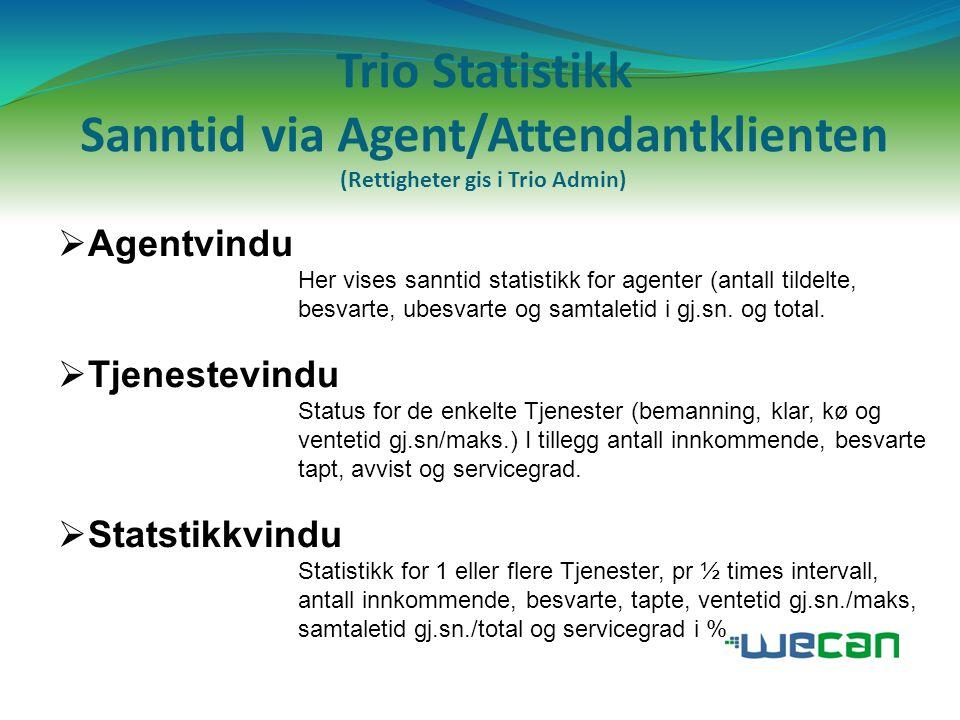 Trio Statistikk Sanntid via Agent/Attendantklienten (Rettigheter gis i Trio Admin)