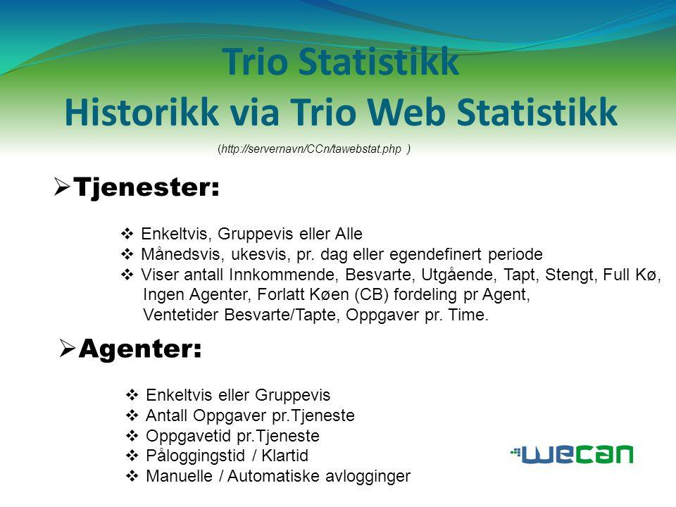 Trio Statistikk Historikk via Trio Web Statistikk
