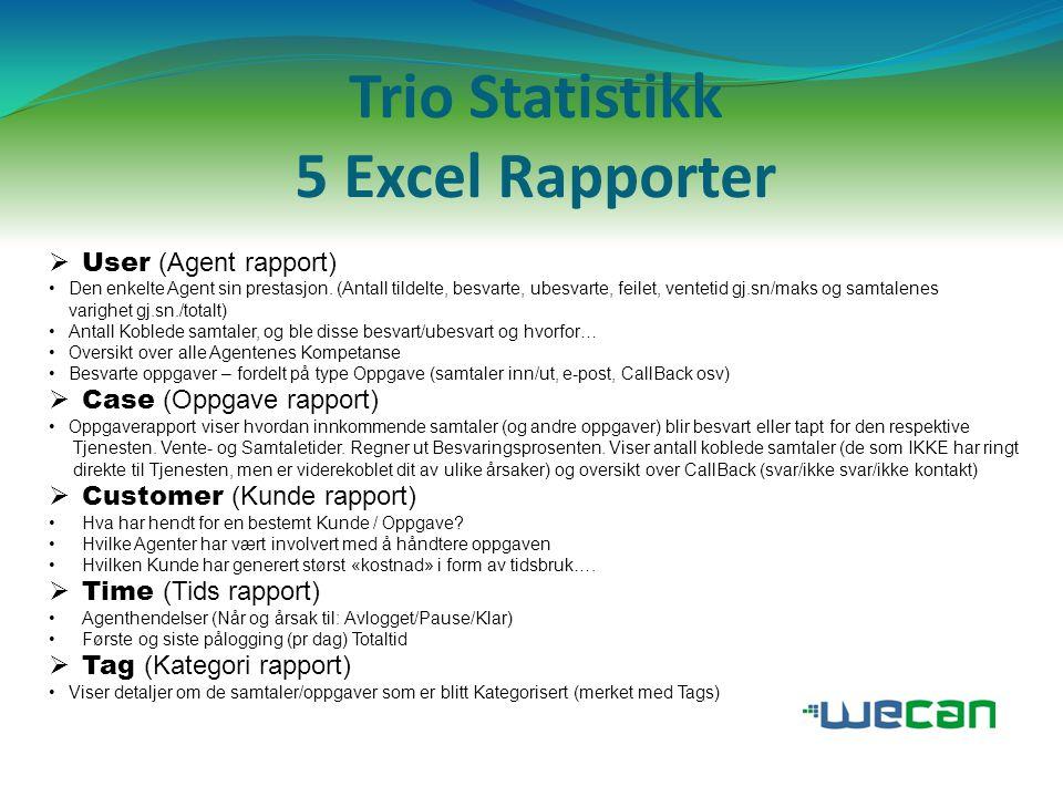 Trio Statistikk 5 Excel Rapporter