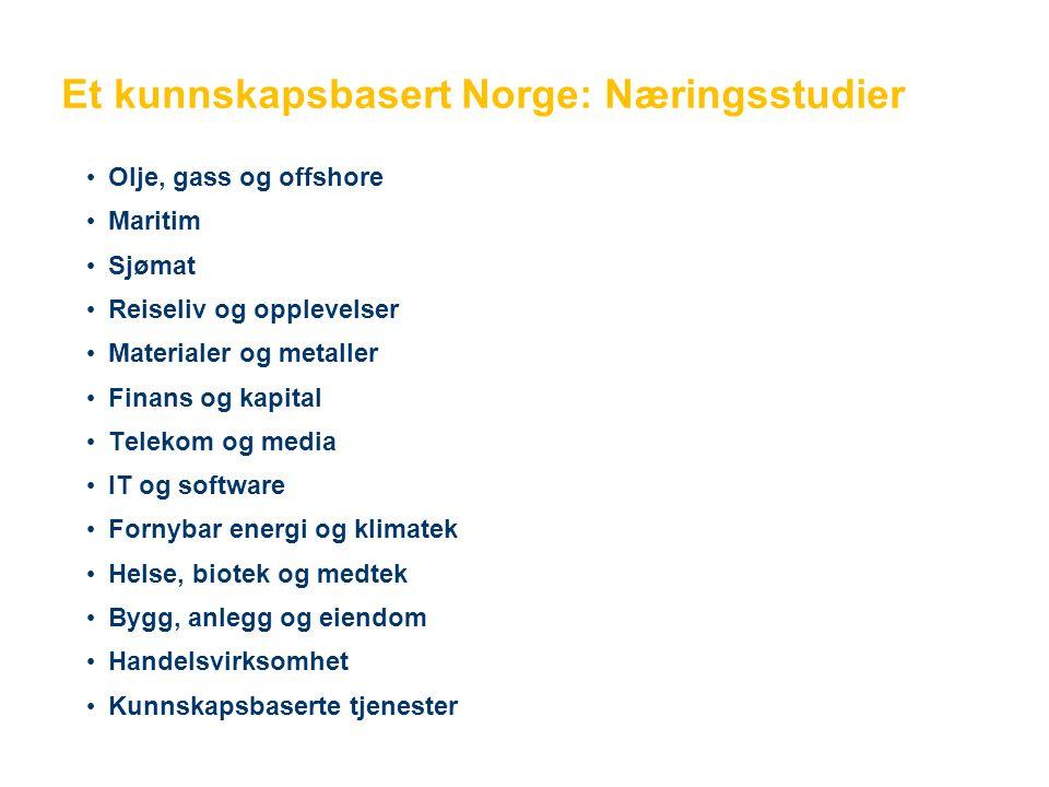 Et kunnskapsbasert Norge: Næringsstudier