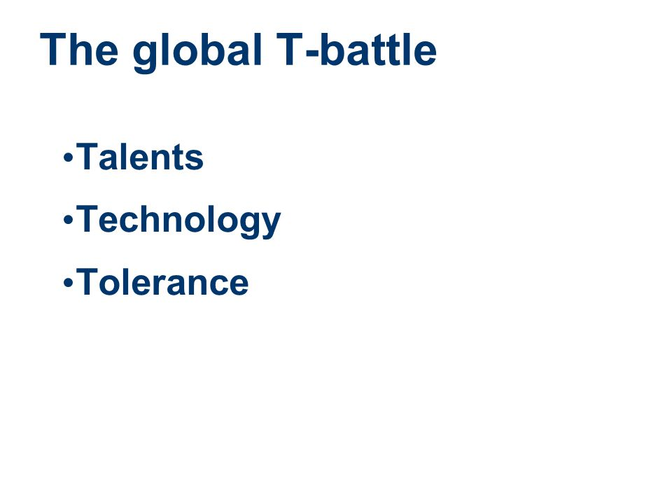 The global T-battle Talents Technology Tolerance