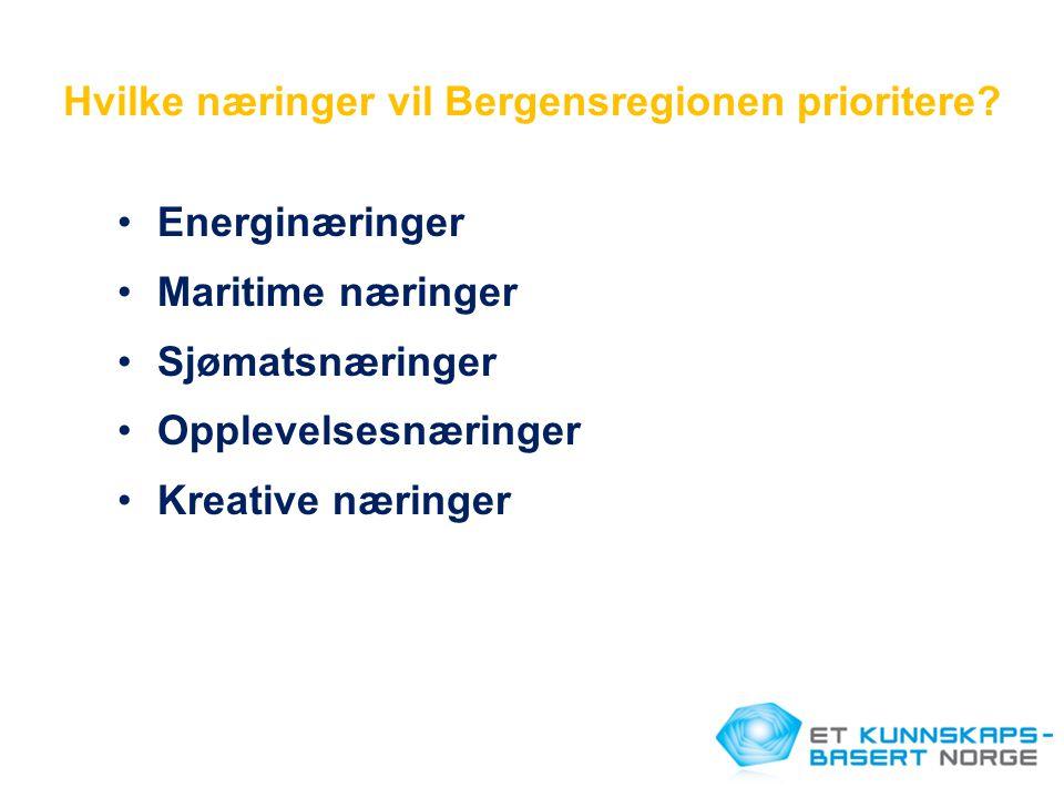 Hvilke næringer vil Bergensregionen prioritere