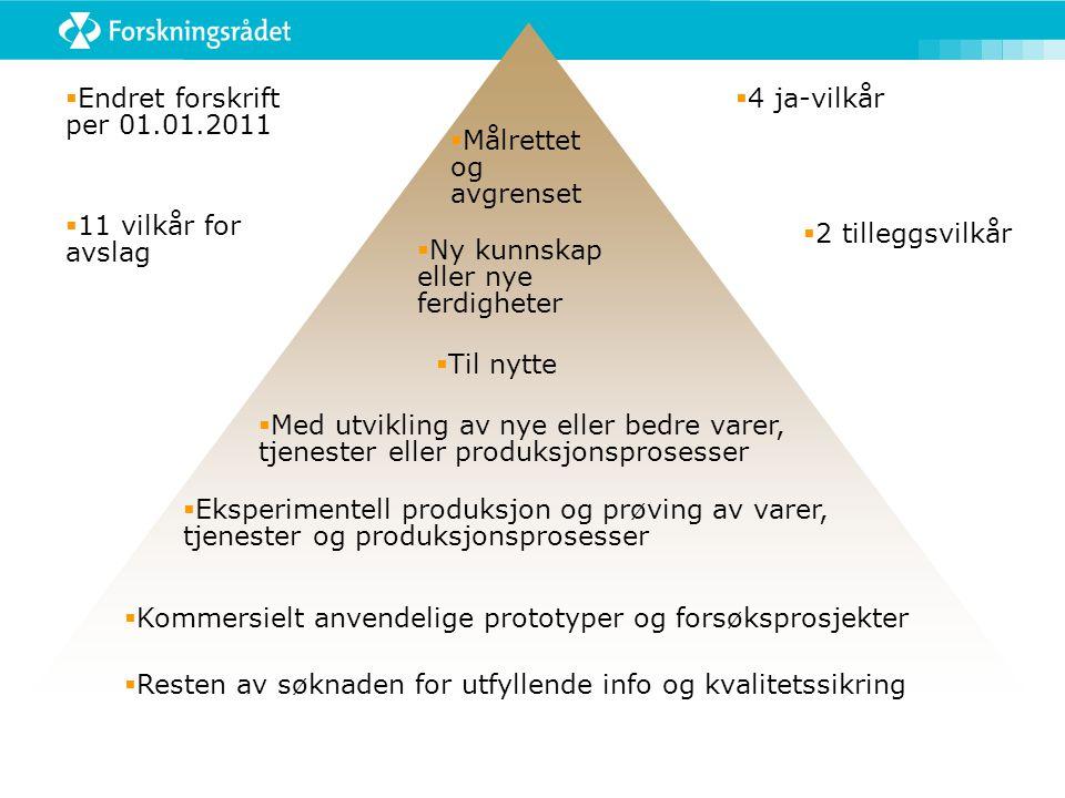 Endret forskrift per 01.01.2011 11 vilkår for avslag. 4 ja-vilkår. Målrettet og avgrenset. 2 tilleggsvilkår.