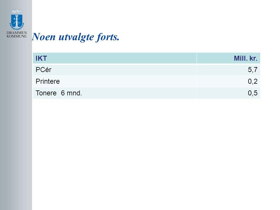 Noen utvalgte forts. IKT Mill. kr. PCér 5,7 Printere 0,2 Tonere 6 mnd.
