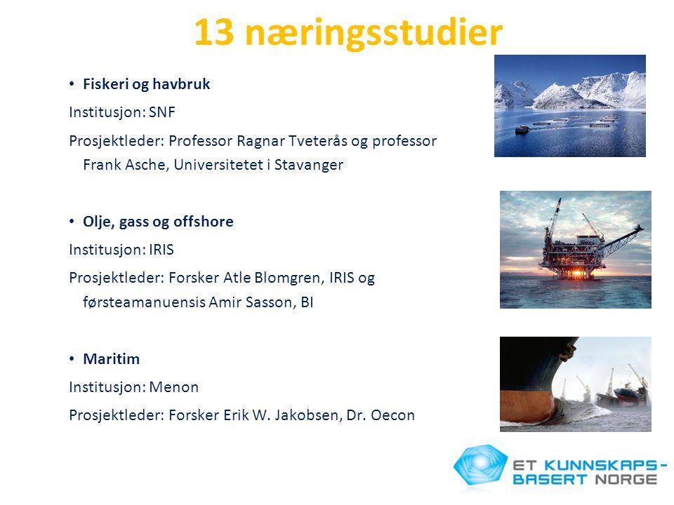 13 næringsstudier Fiskeri og havbruk Institusjon: SNF