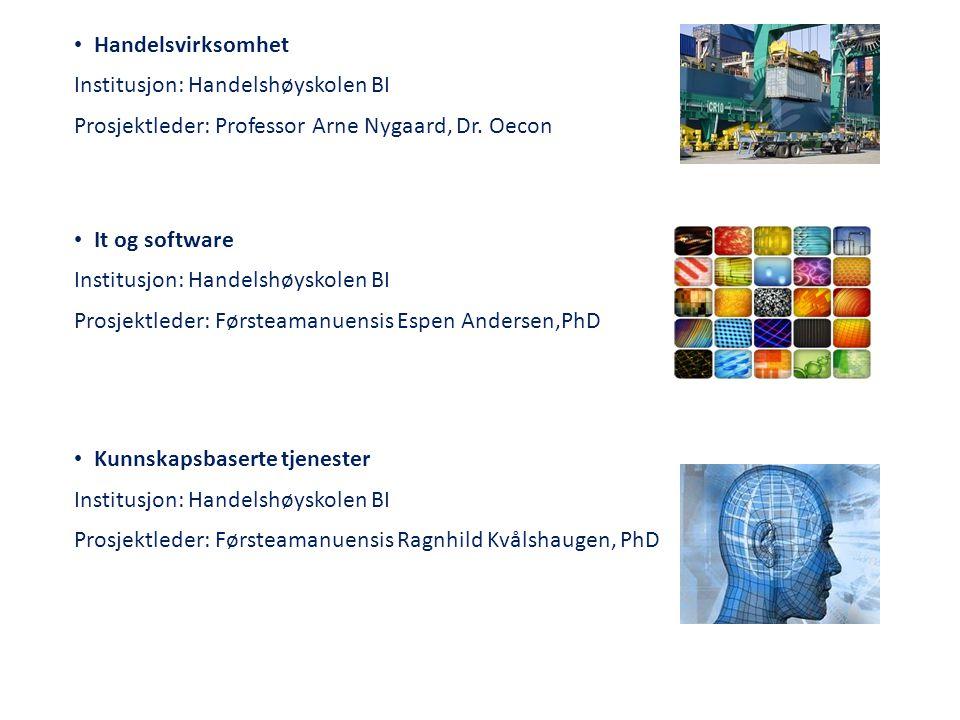 Handelsvirksomhet Institusjon: Handelshøyskolen BI. Prosjektleder: Professor Arne Nygaard, Dr. Oecon.