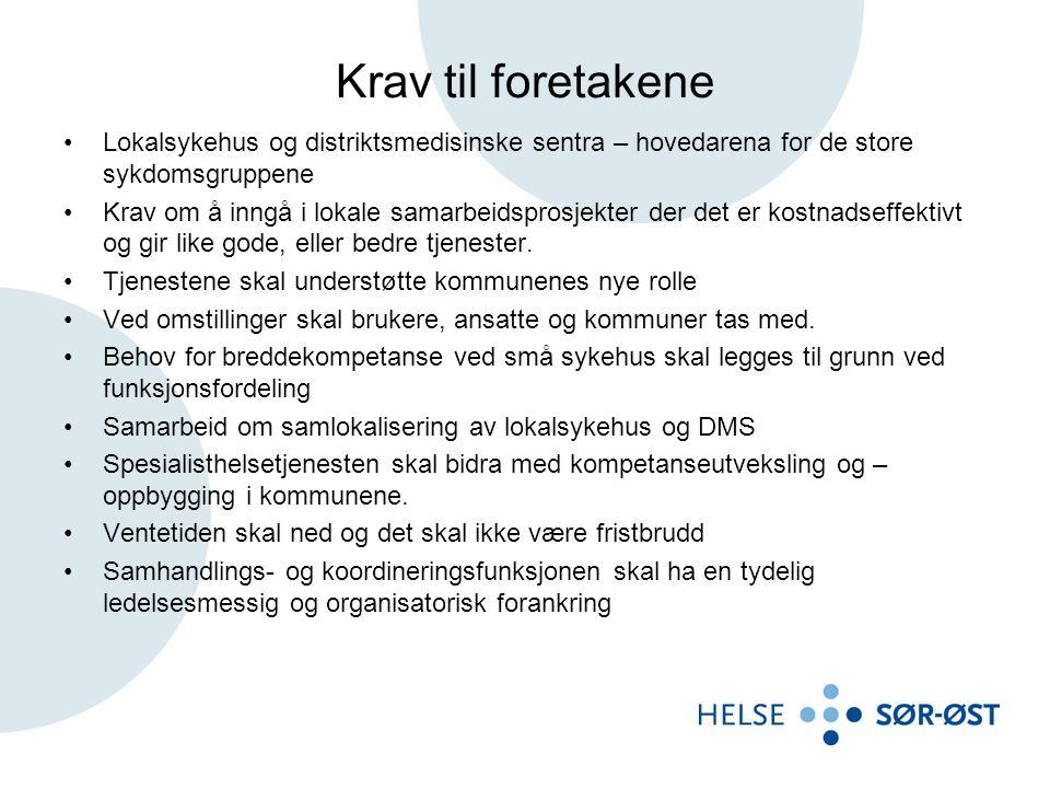 Krav til foretakene Lokalsykehus og distriktsmedisinske sentra – hovedarena for de store sykdomsgruppene.