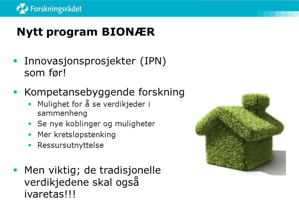 Nytt program BIONÆR Innovasjonsprosjekter (IPN) som før!