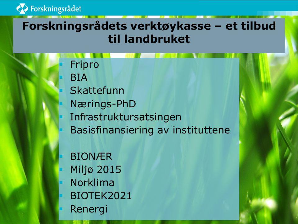 Forskningsrådets verktøykasse – et tilbud til landbruket