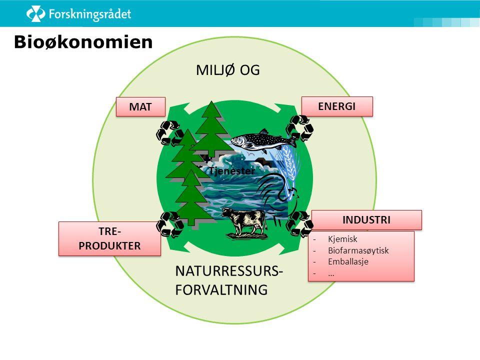 Bioøkonomien MILJØ OG NATURRESSURS- FORVALTNING MAT ENERGI Tjenester