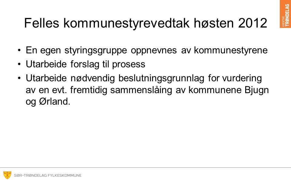 Felles kommunestyrevedtak høsten 2012