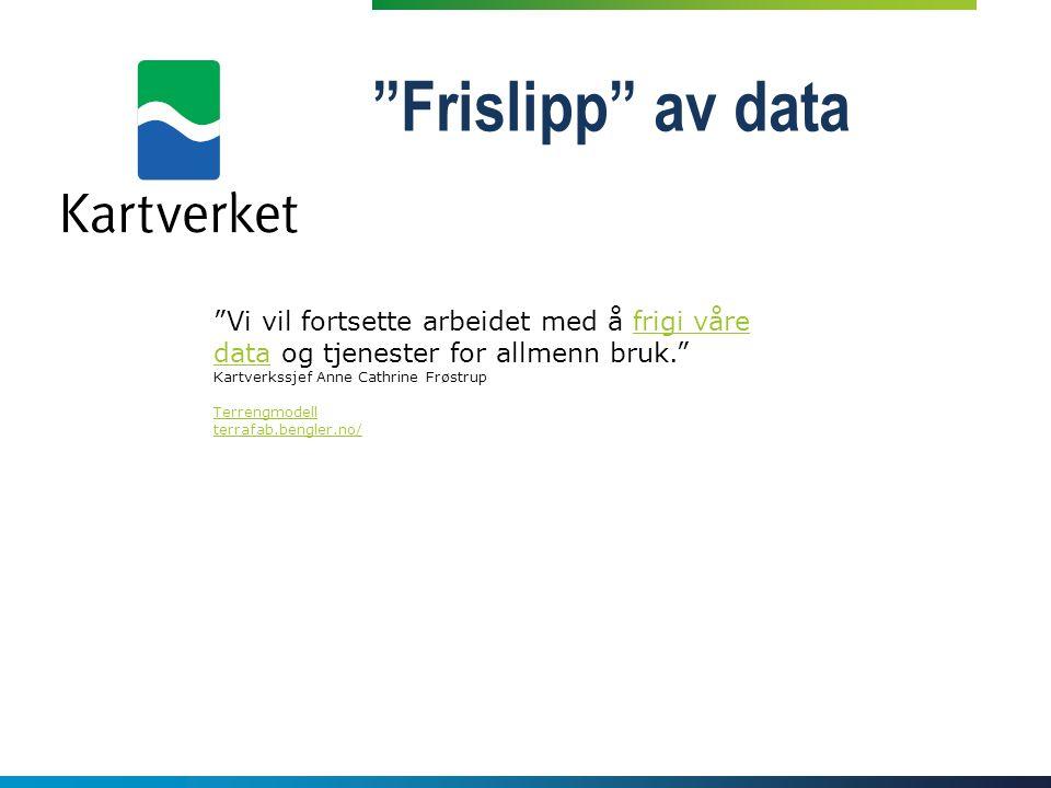 Frislipp av data Vi vil fortsette arbeidet med å frigi våre data og tjenester for allmenn bruk. Kartverkssjef Anne Cathrine Frøstrup.