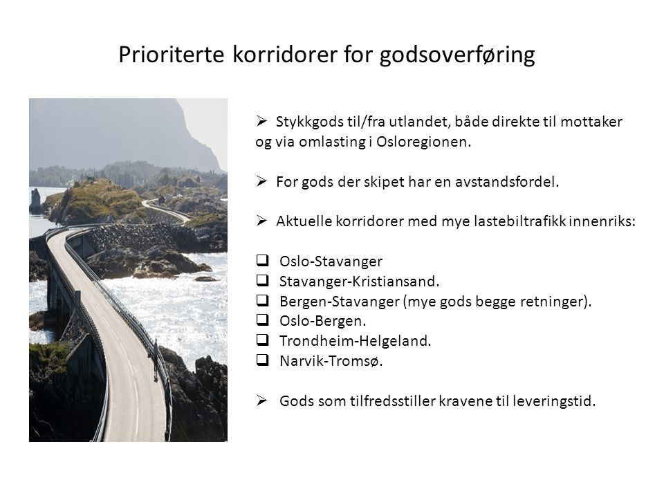 Prioriterte korridorer for godsoverføring