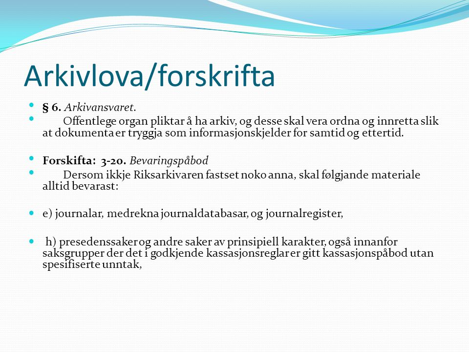 Arkivlova/forskrifta