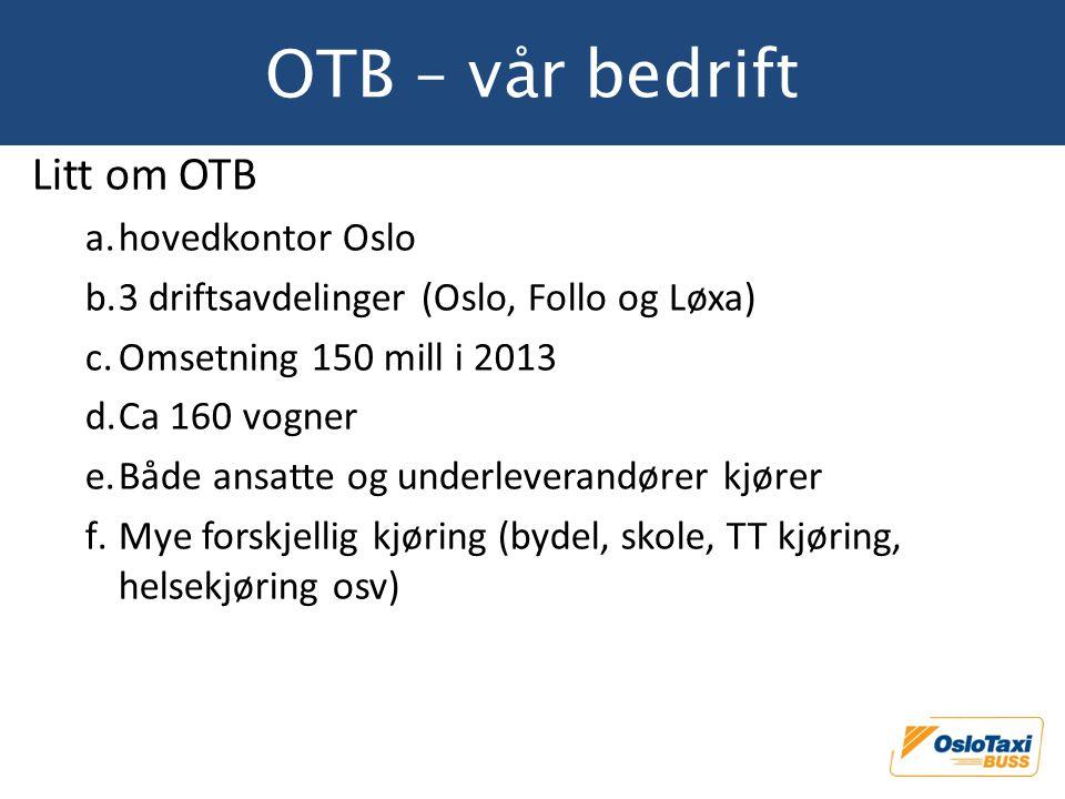 OTB – vår bedrift Litt om OTB hovedkontor Oslo